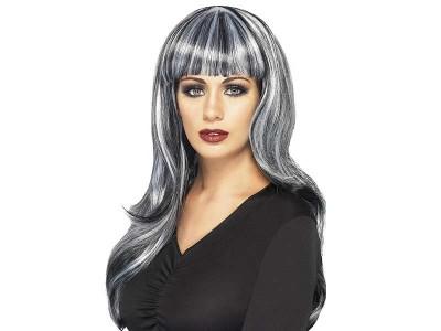 Peruca Sinister Siren gri-alb-negru