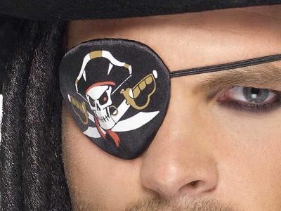 Petic de ochi pirat cu cap de mort si sabii