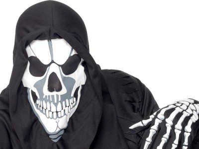 Set masca cu gluga si manusi schelet Halloween