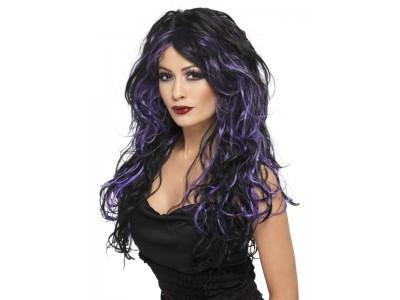 Peruca Gothic Bride cu suvite violet